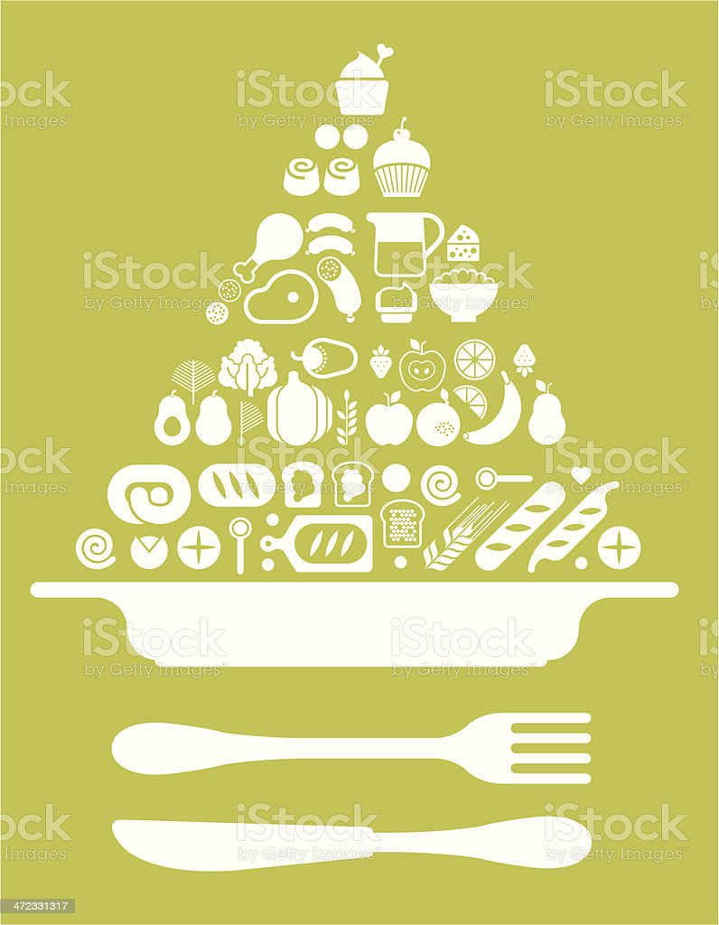 Composition with food pyramid and plate vector art illustration