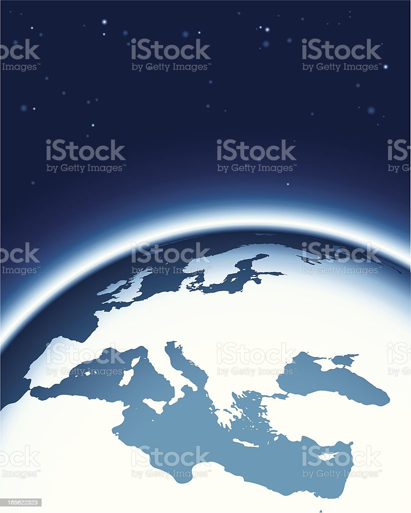 Composition with globe. Europe side royalty-free stock vector art