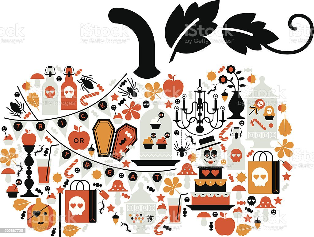 Composition with halloween silhouettes. royalty-free stock vector art