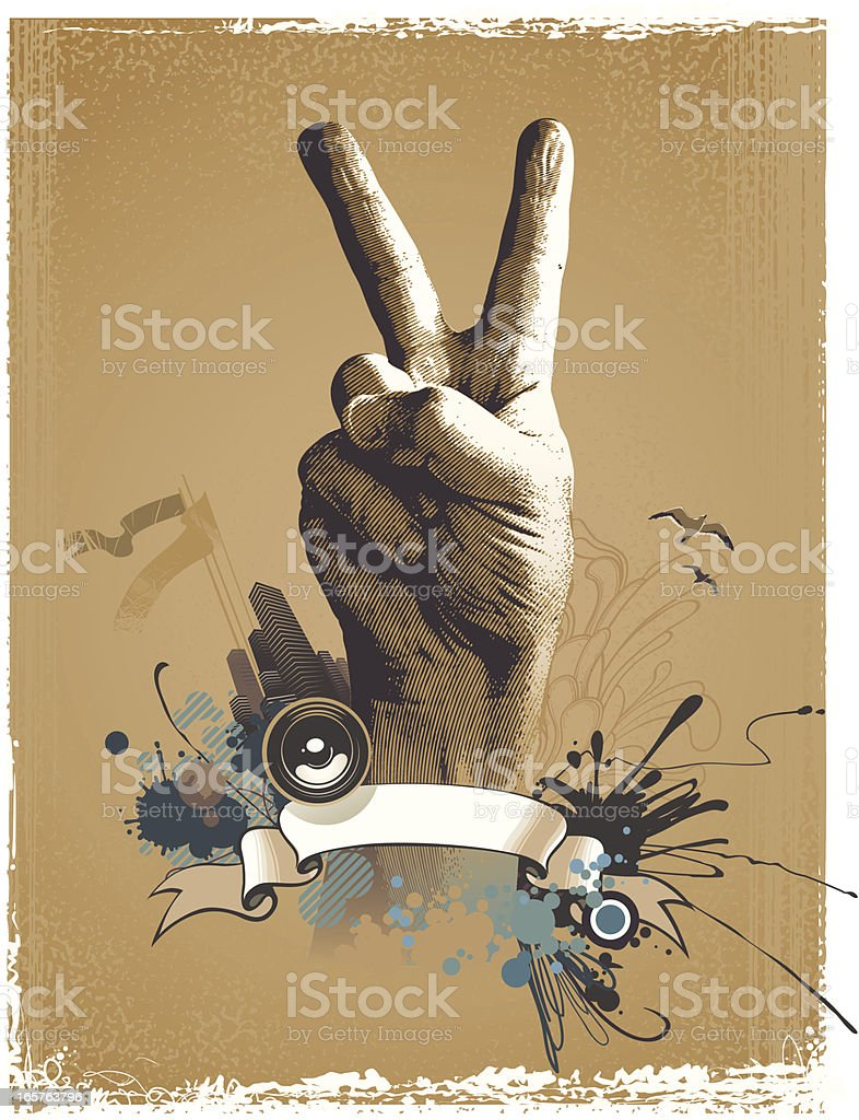 Composition with hand royalty-free stock vector art