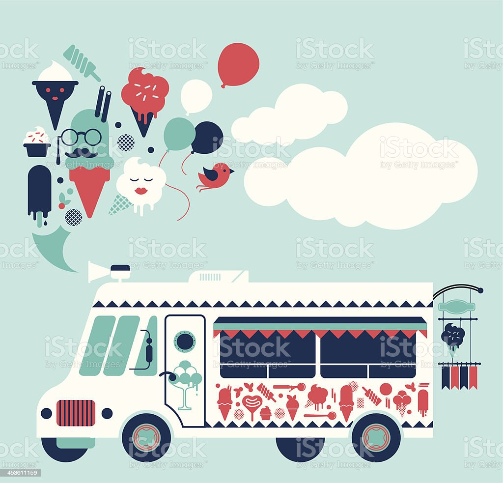 Composition with ice-cream truck vector art illustration