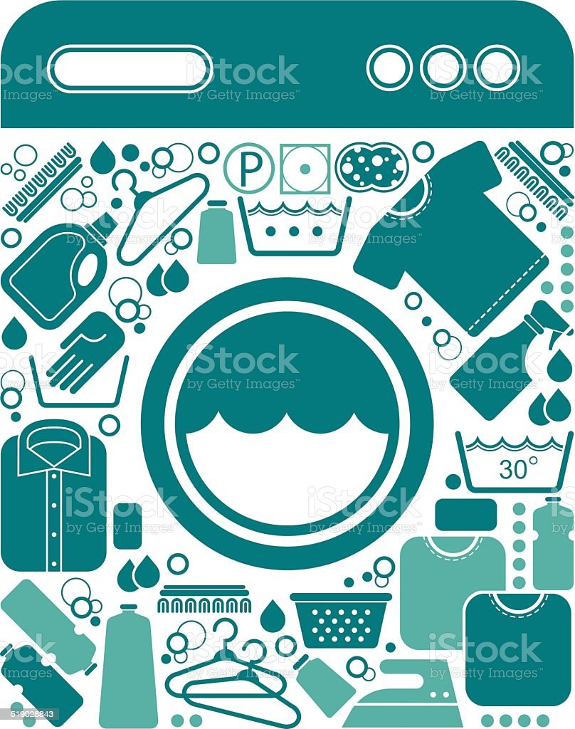 Composition with laundry symbols vector art illustration