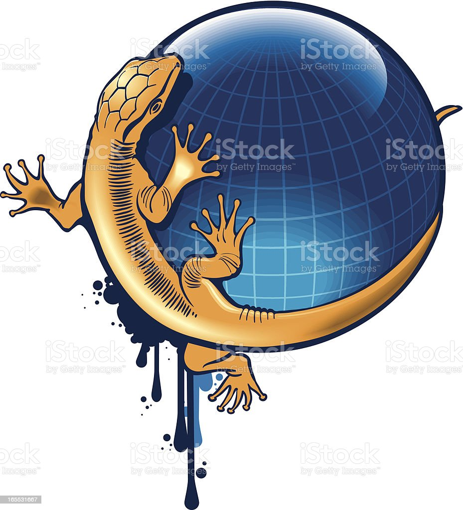 composition with lizard and globe royalty-free stock vector art