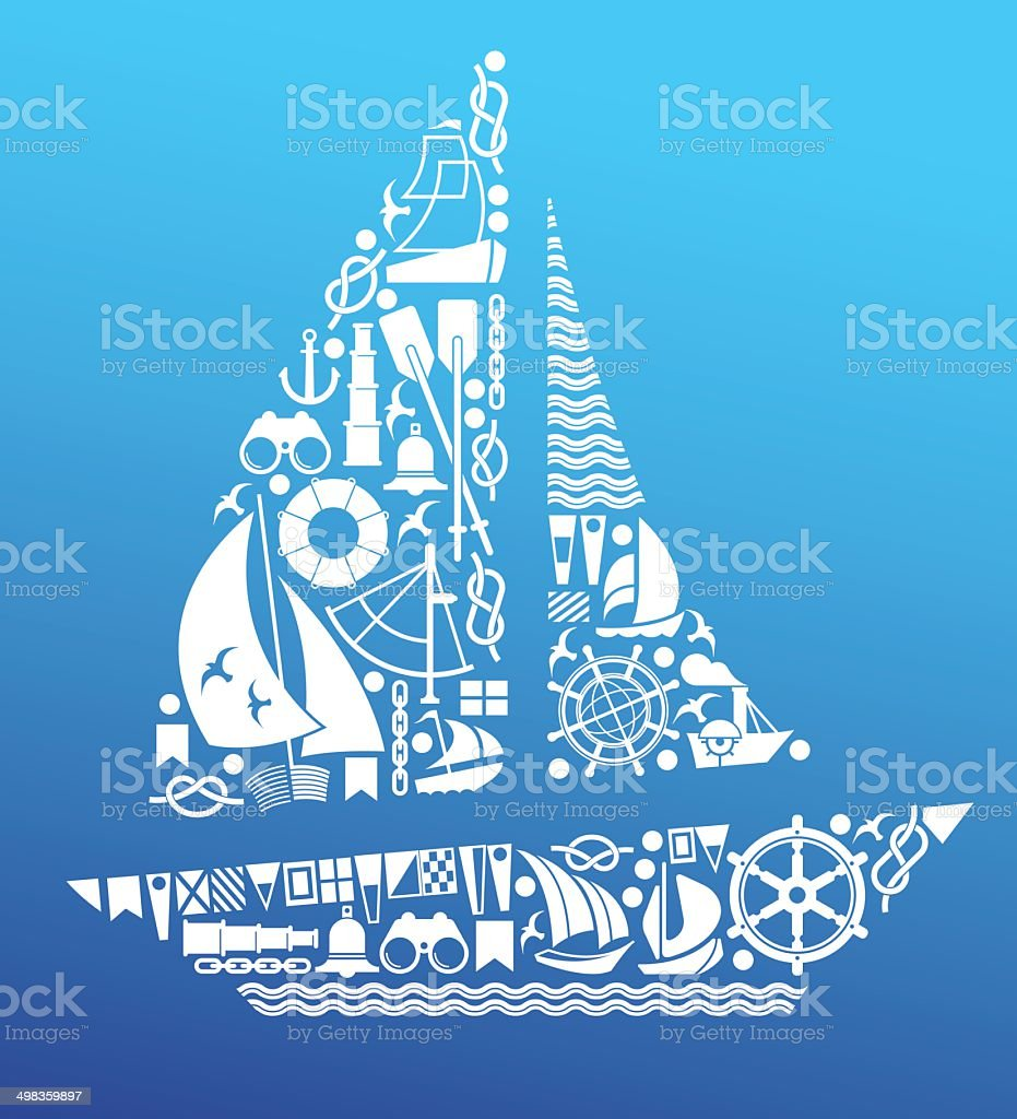 Composition with sailing symbols vector art illustration