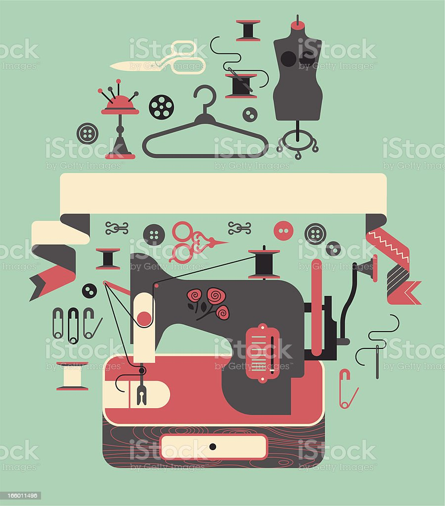 composition with sewing machine royalty-free stock vector art