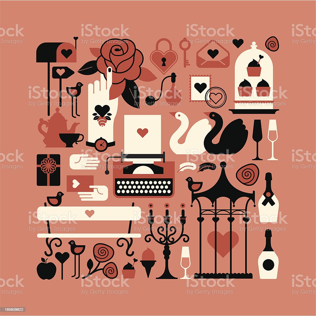 Composition with st. Valentine symbols vector art illustration