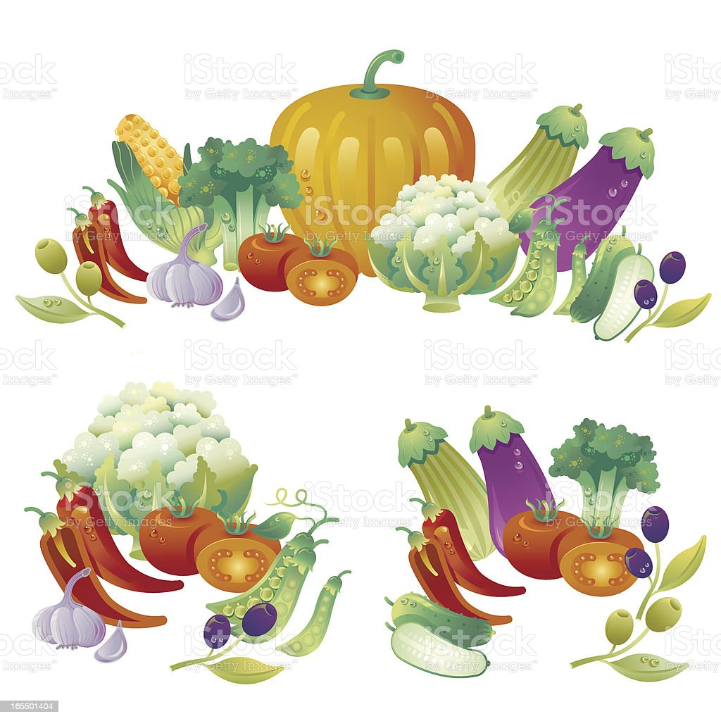 Composition with tasty vegetables royalty-free stock vector art