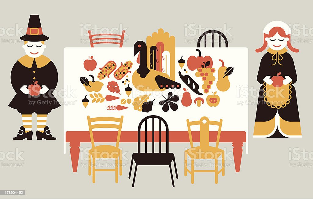 Composition with thanksgiving dinner vector art illustration
