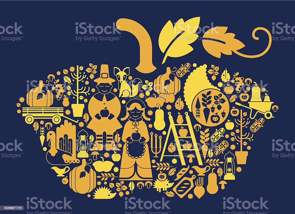 Composition with thanksgiving silhouettest vector art illustration