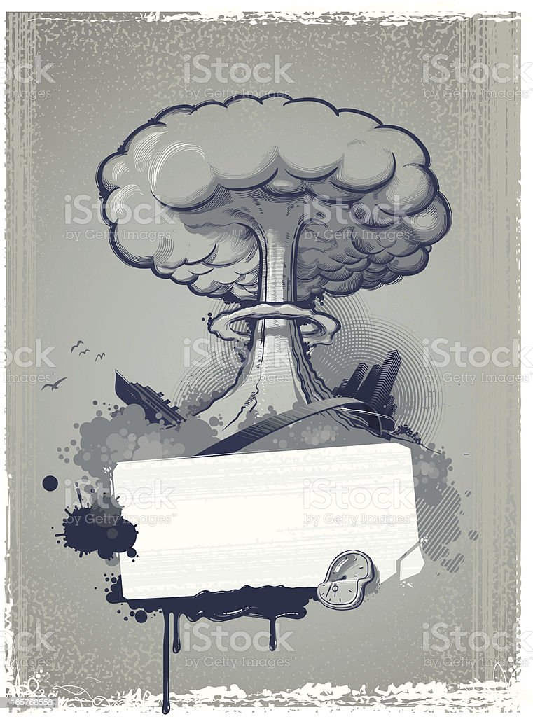 composition with \tnuclear explosion vector art illustration