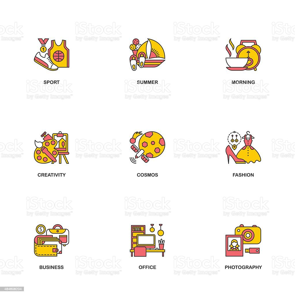 Compositional line icons colored. vector art illustration