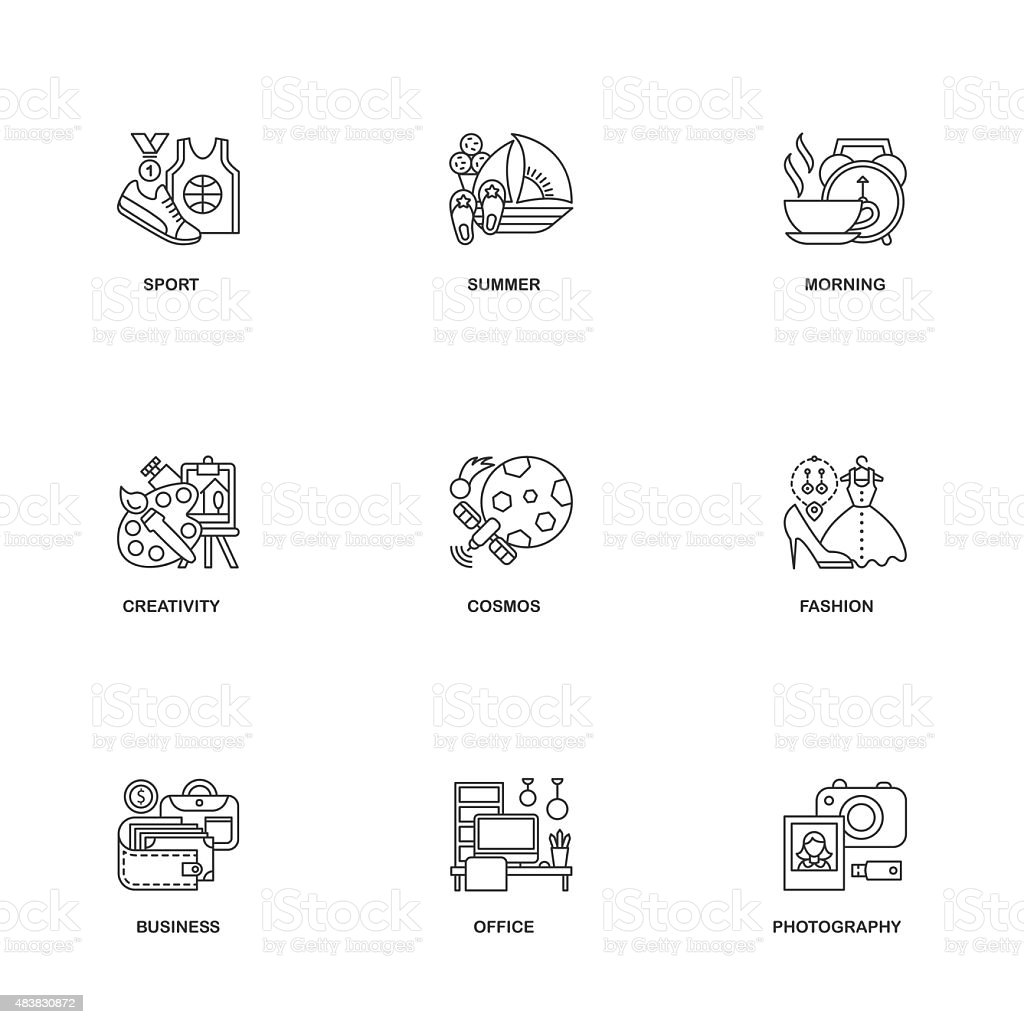 Compositional line icons vector art illustration