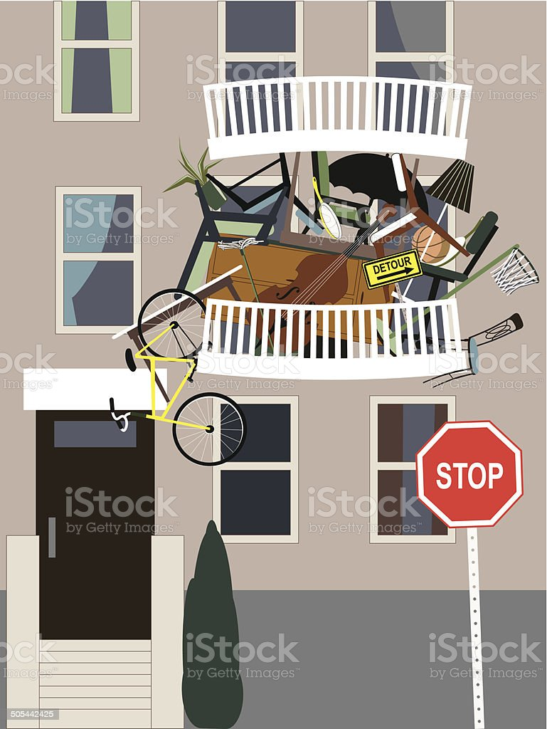 Compulsive hoarding vector art illustration