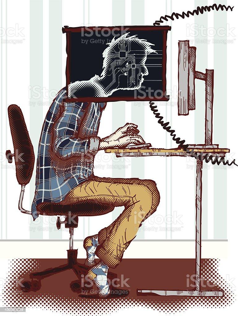 Computer addiction vector art illustration