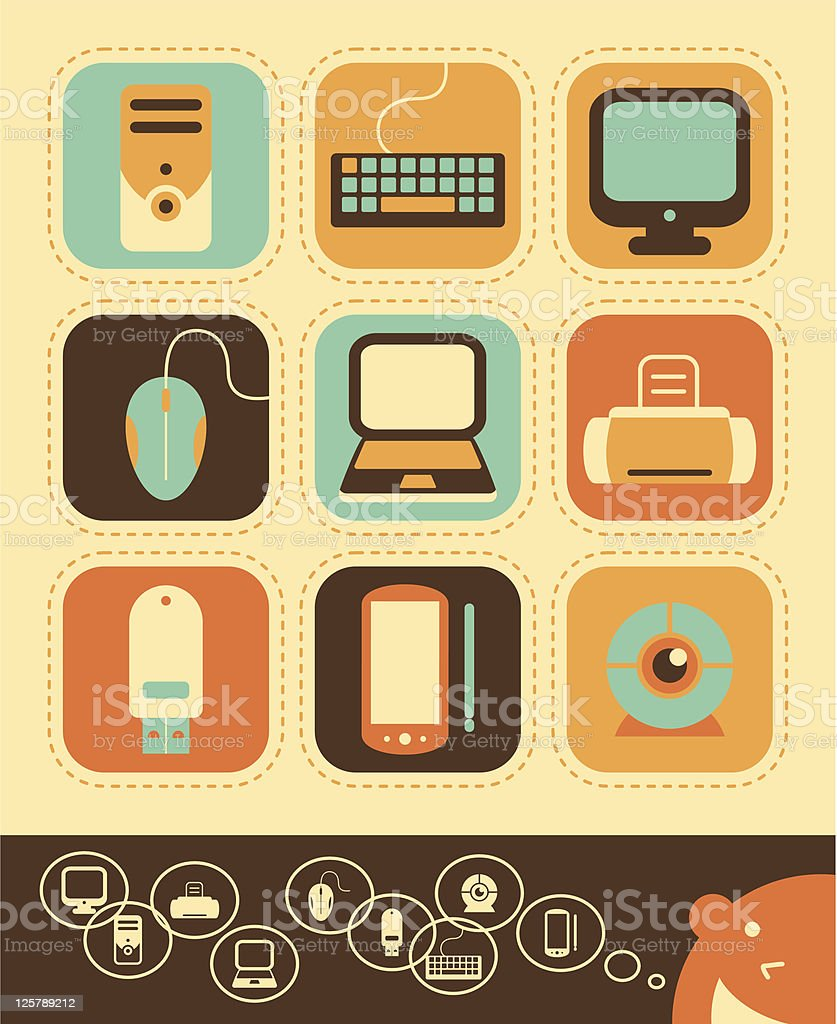 Computer and Electronics Icon Set royalty-free stock vector art