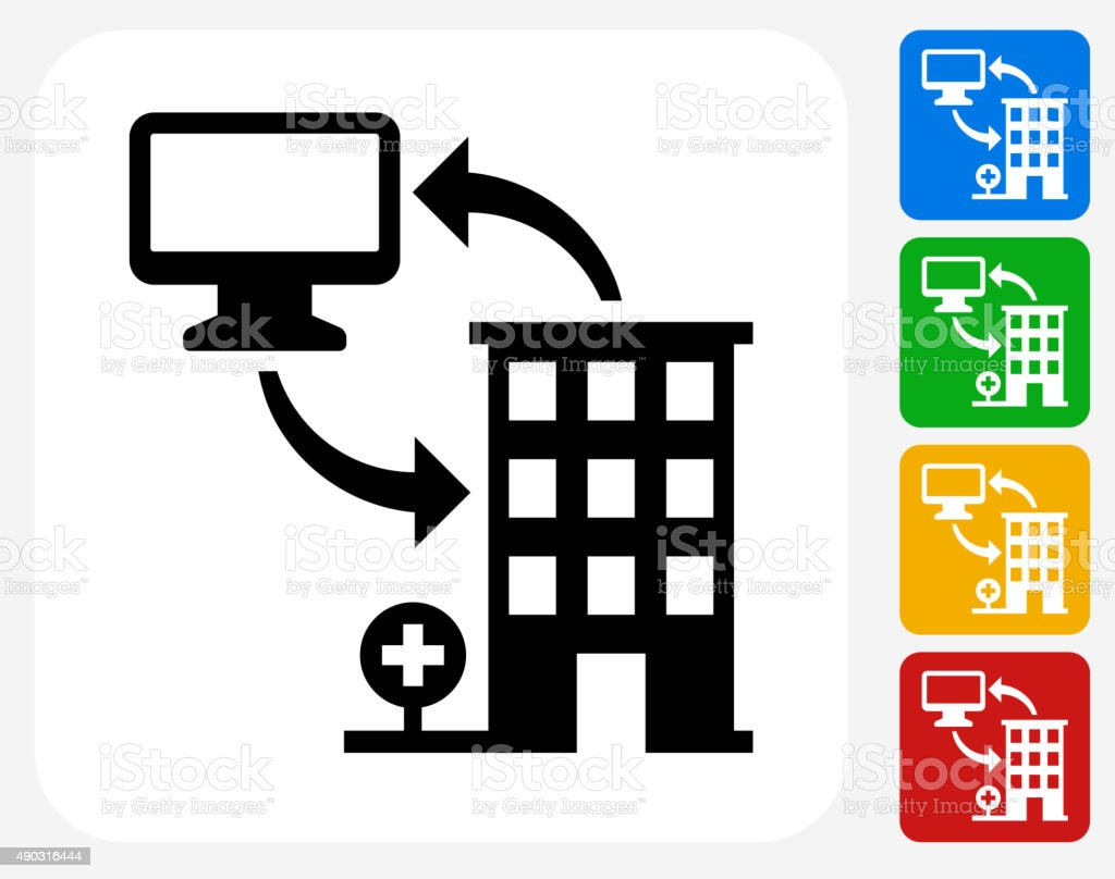 Computer and Health Icon Flat Graphic Design vector art illustration