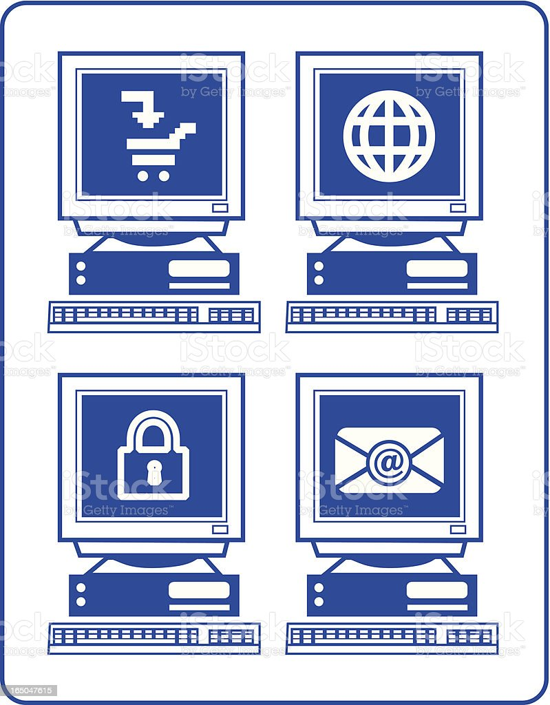 Computer and Internet Usage v1 vector art illustration
