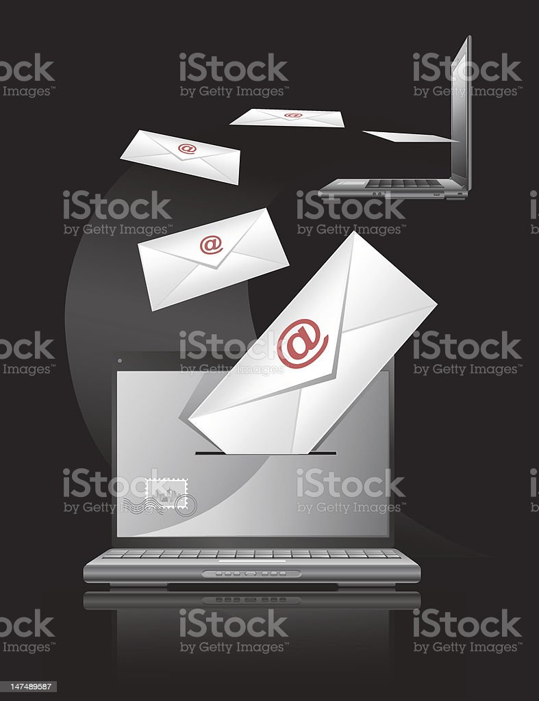 Computer and mailers stock photo