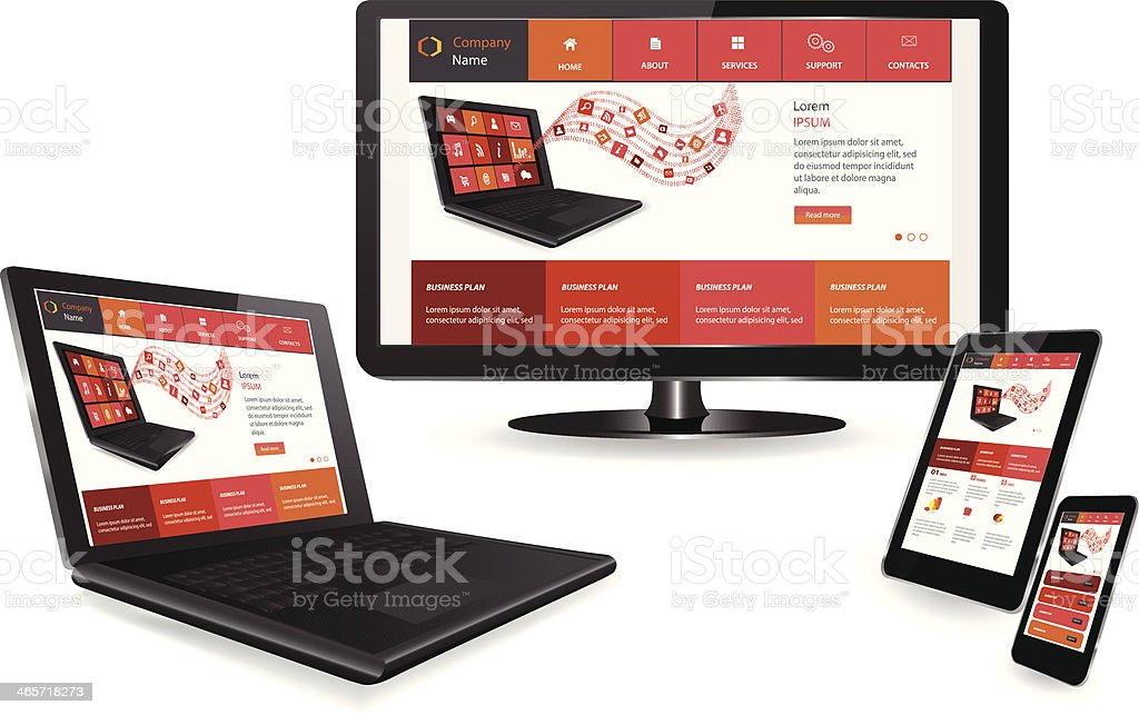 Computer and mobile devices showing responsive web design vector art illustration