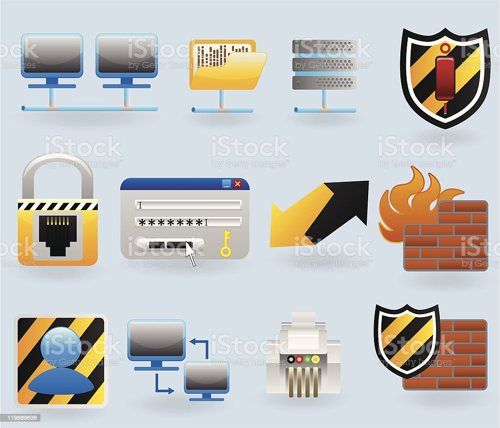 Computer and network icons set royalty-free stock vector art