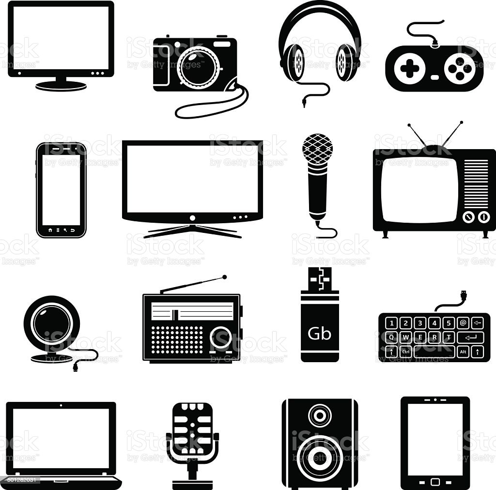 Computer and technology icon set vector art illustration