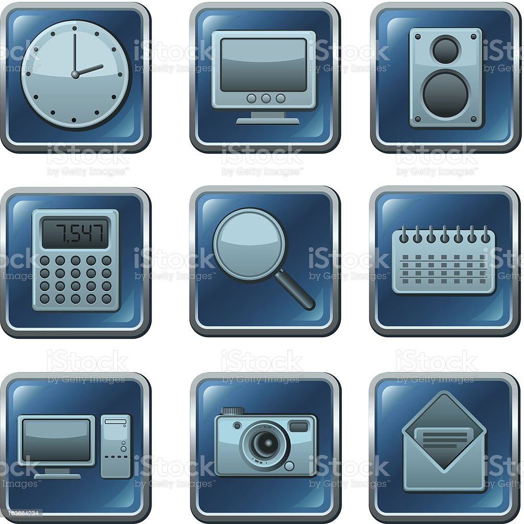computer applications buttons royalty-free stock vector art