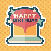 computer birthday message flat icon with long shadow,eps10