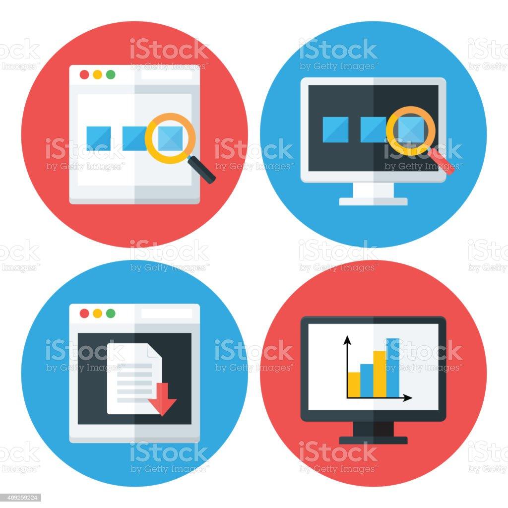 Computer Browser Technology Flat Circle Icons Set vector art illustration