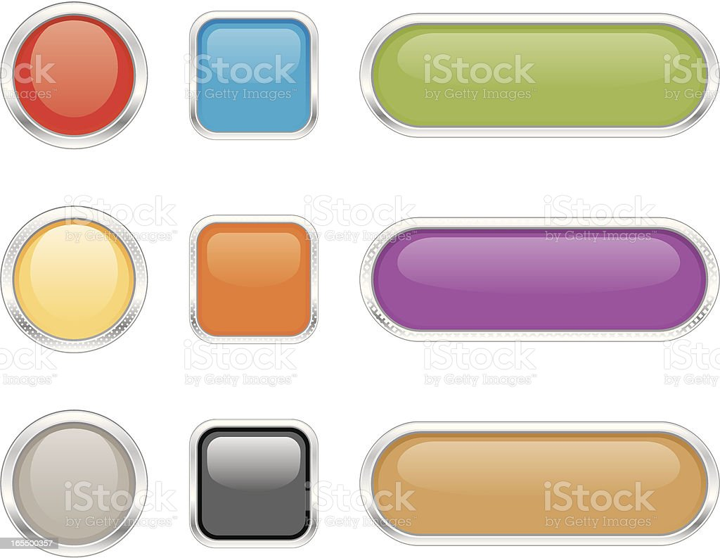 Computer buttons of various shapes, sizes and colors royalty-free stock vector art