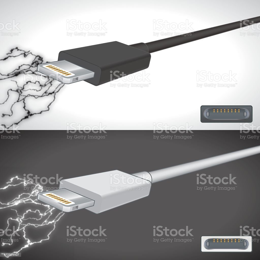 Computer cable and plug vector art illustration