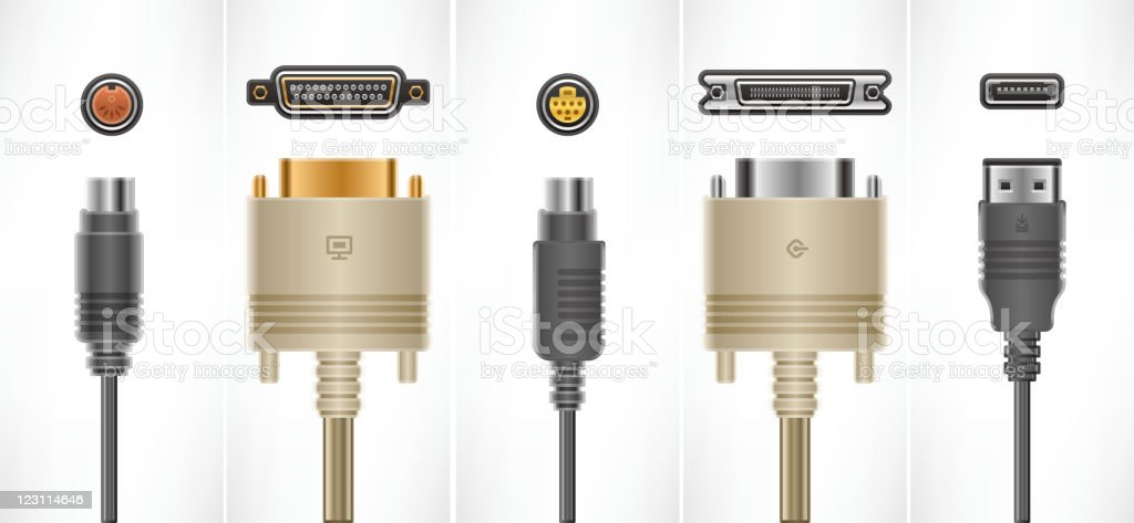 Computer Cables and Plugs vector art illustration