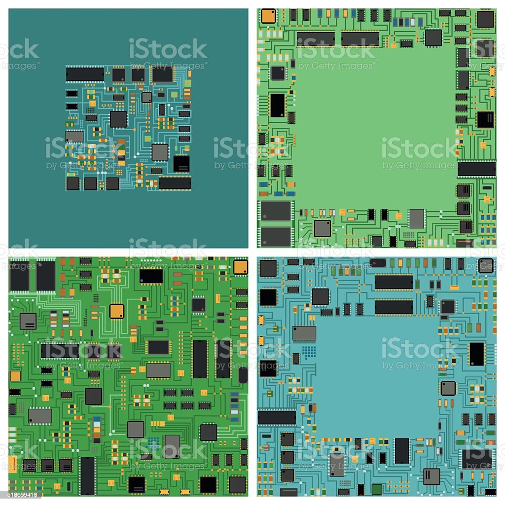 Computer chip electronic circuit board with processor flat vector illustration vector art illustration