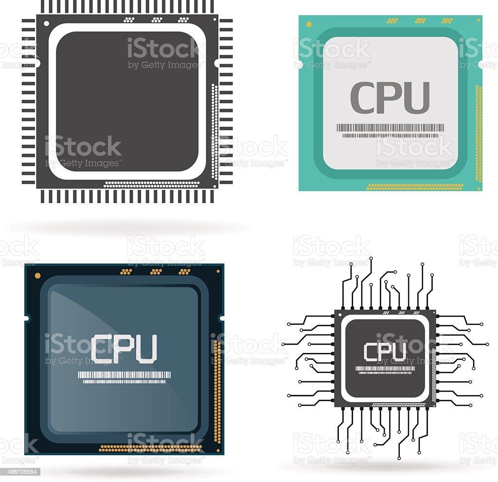 Computer chip vector art illustration