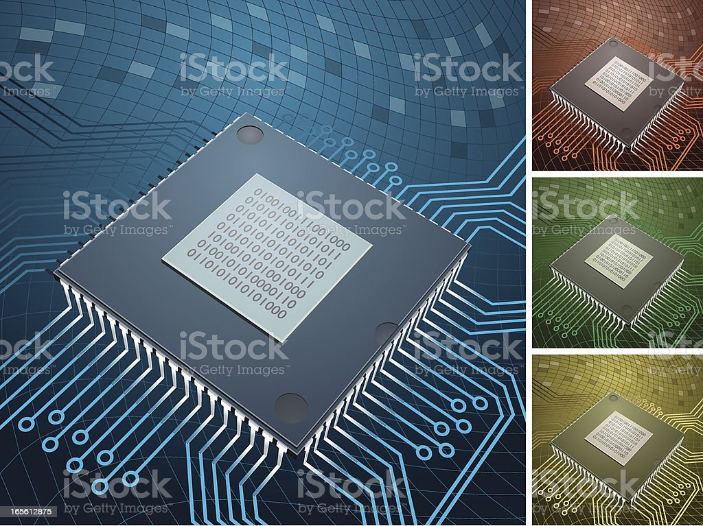 computer chip with 4 color backgrounds royalty-free stock vector art