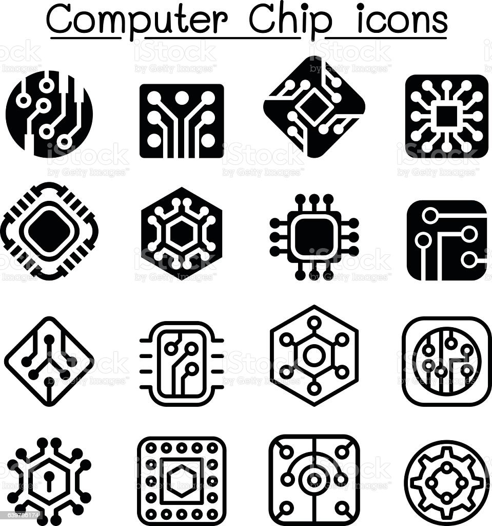 Computer Chips and Electronic Circuit icons vector art illustration