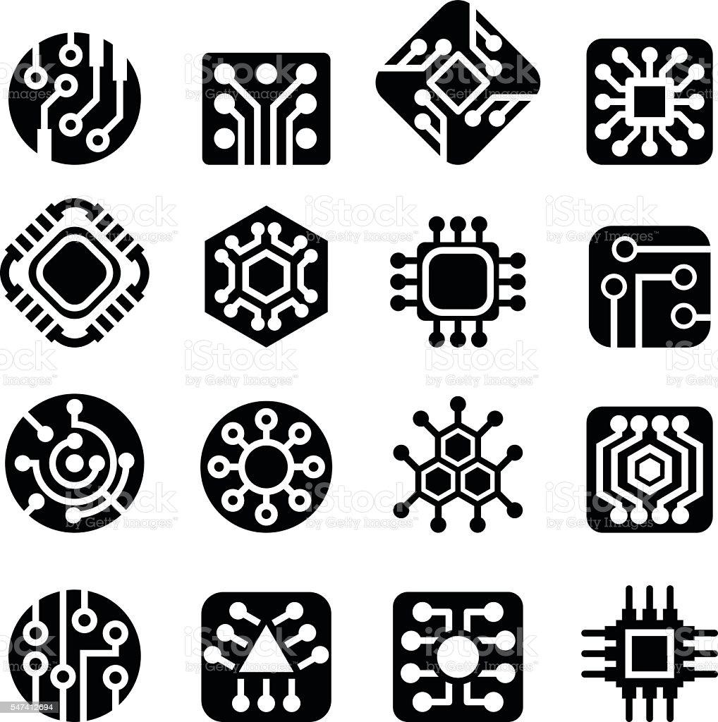 Computer Chips icons Vector illustration vector art illustration