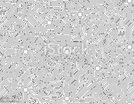 Computer Circuit Board Seamless Black And White Technology