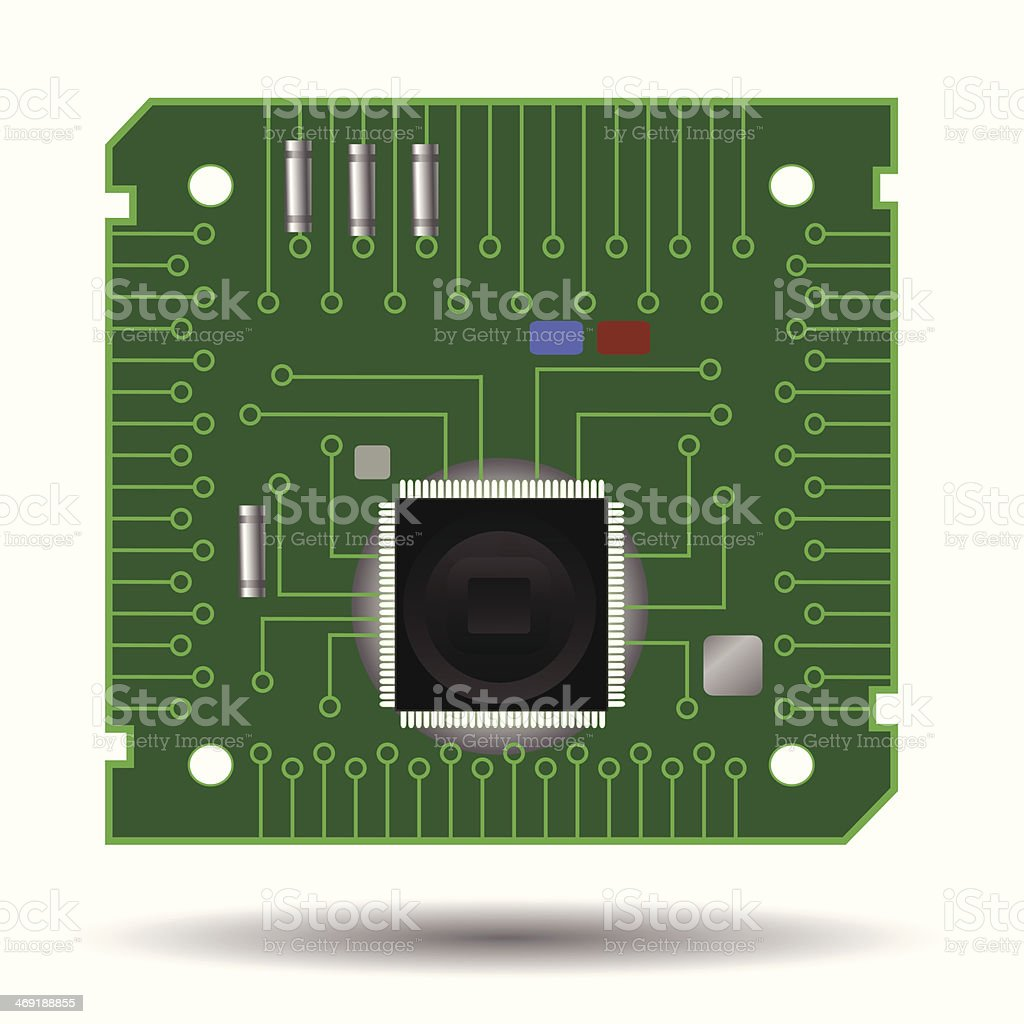 Computer circuit board vector art illustration