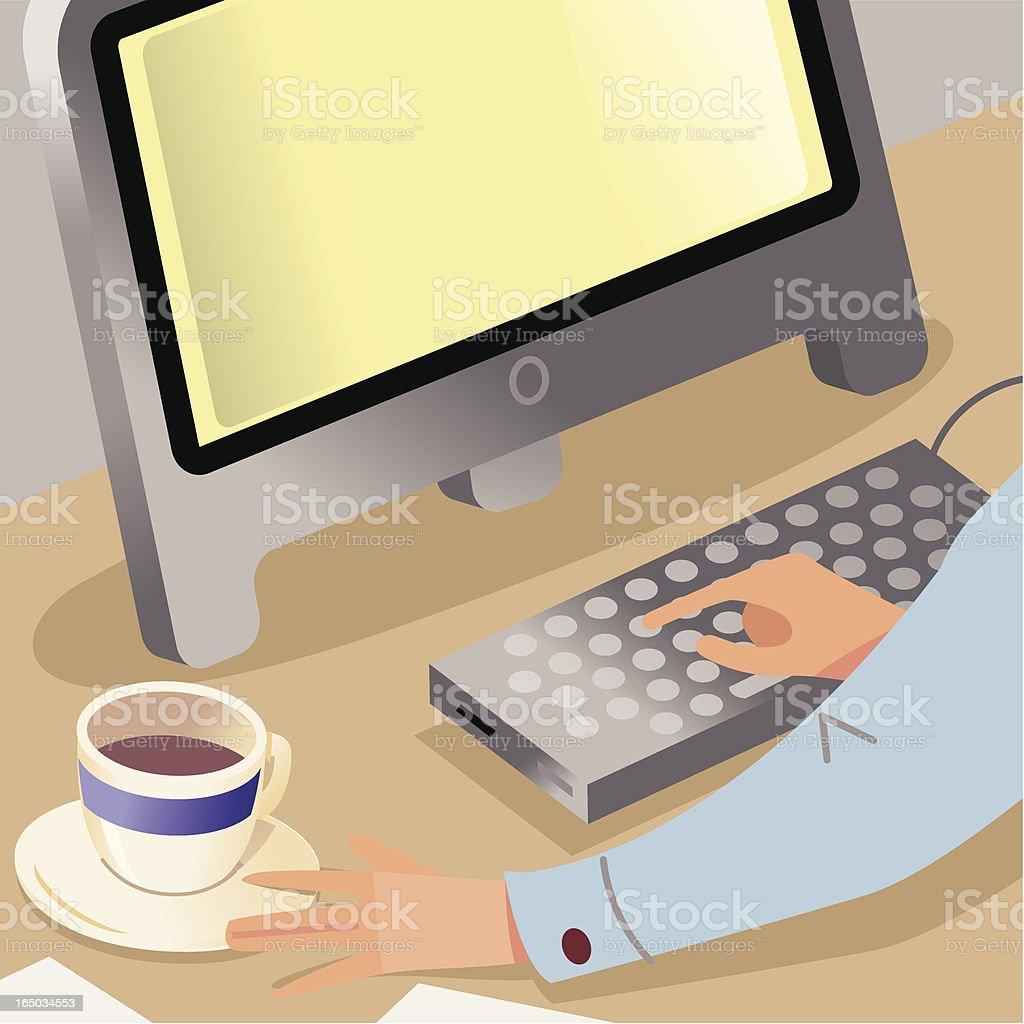 Computer Coffee Man royalty-free stock vector art
