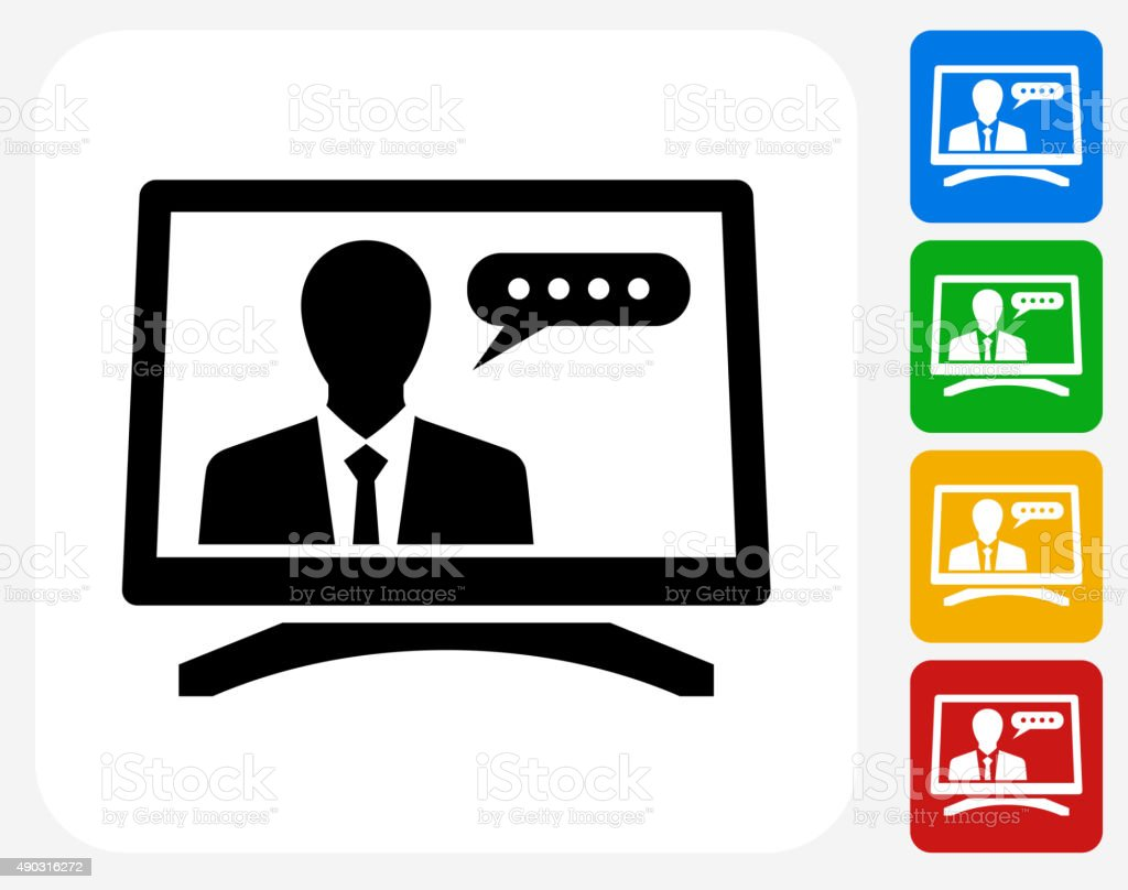 Computer Communication Icon Flat Graphic Design vector art illustration