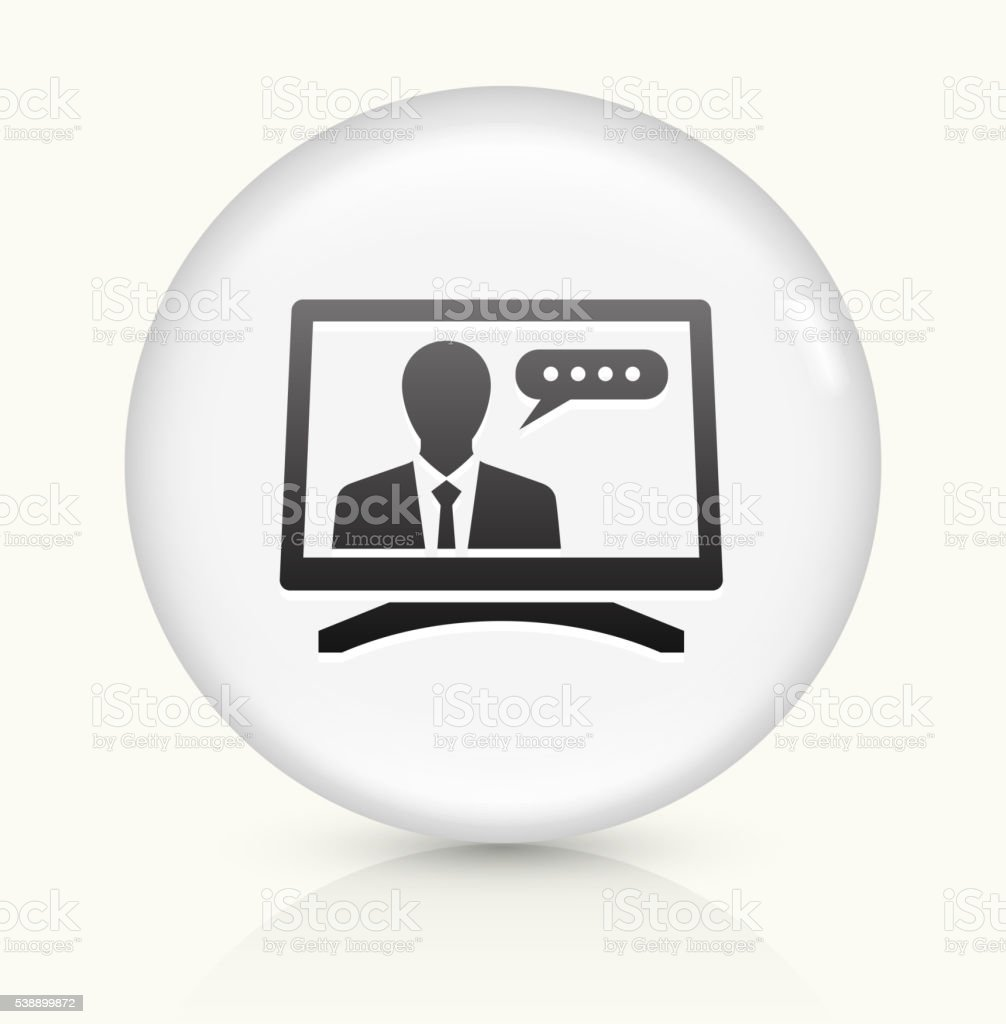 Computer Communication icon on white round vector button vector art illustration