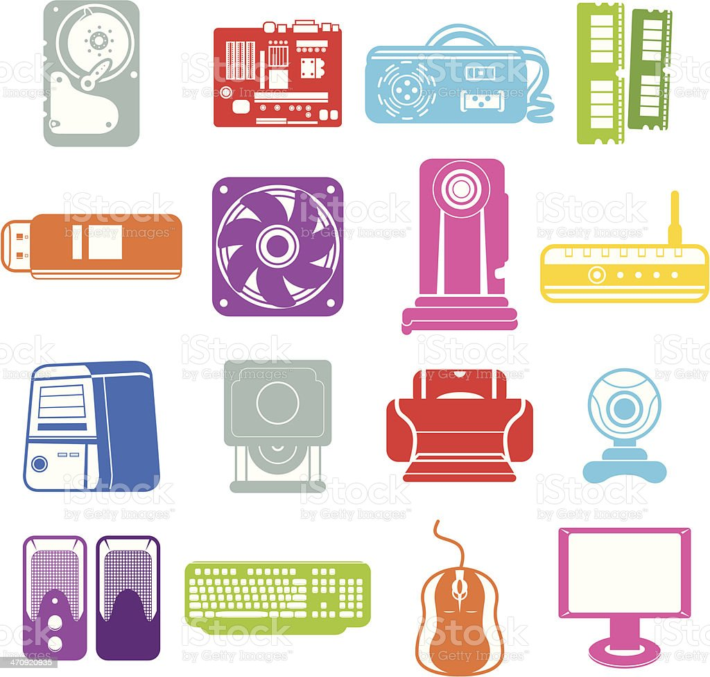 Computer component icons royalty-free stock vector art