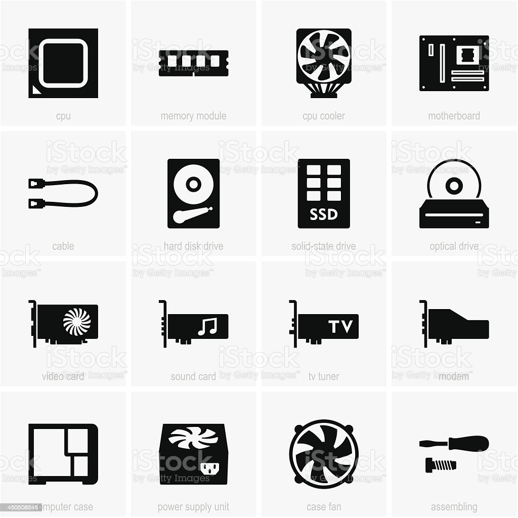 Computer components icons vector art illustration