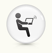 Computer Connection icon on white round vector button