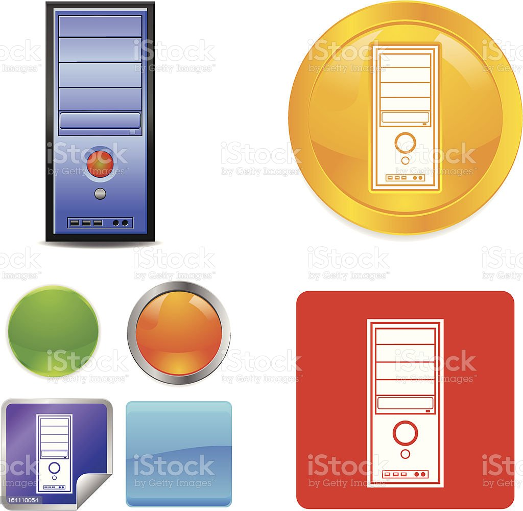 Computer CPU Server vector icons royalty-free stock vector art