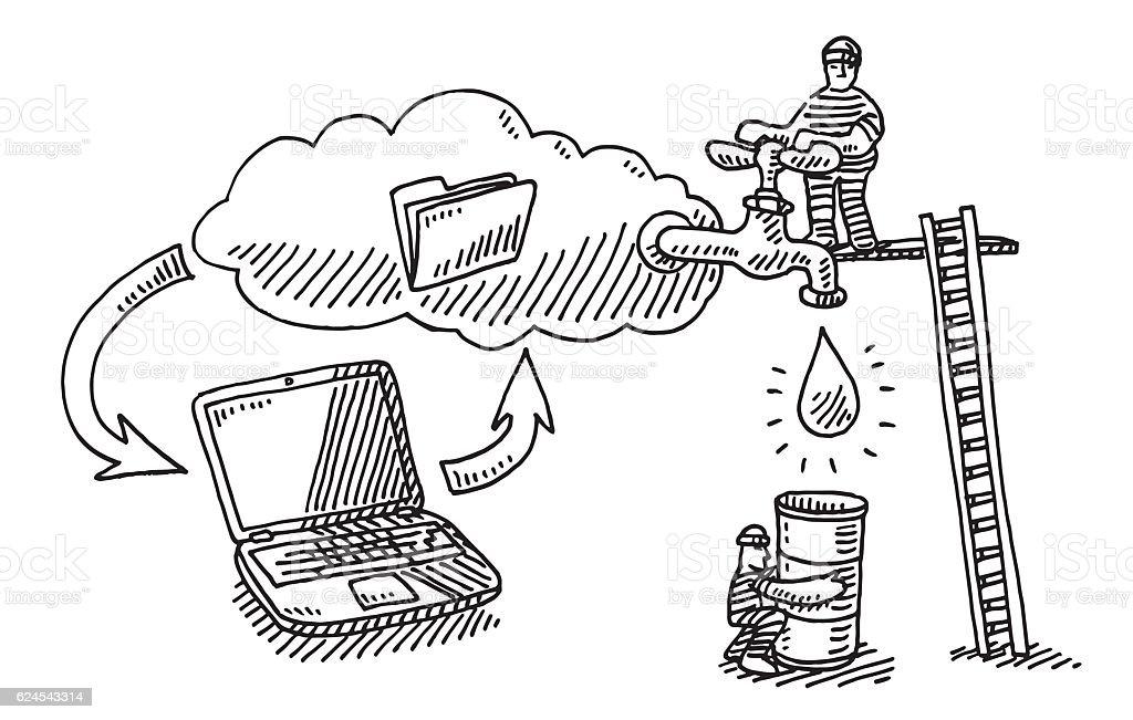 Computer Data Cloud Leak Theft Drawing vector art illustration