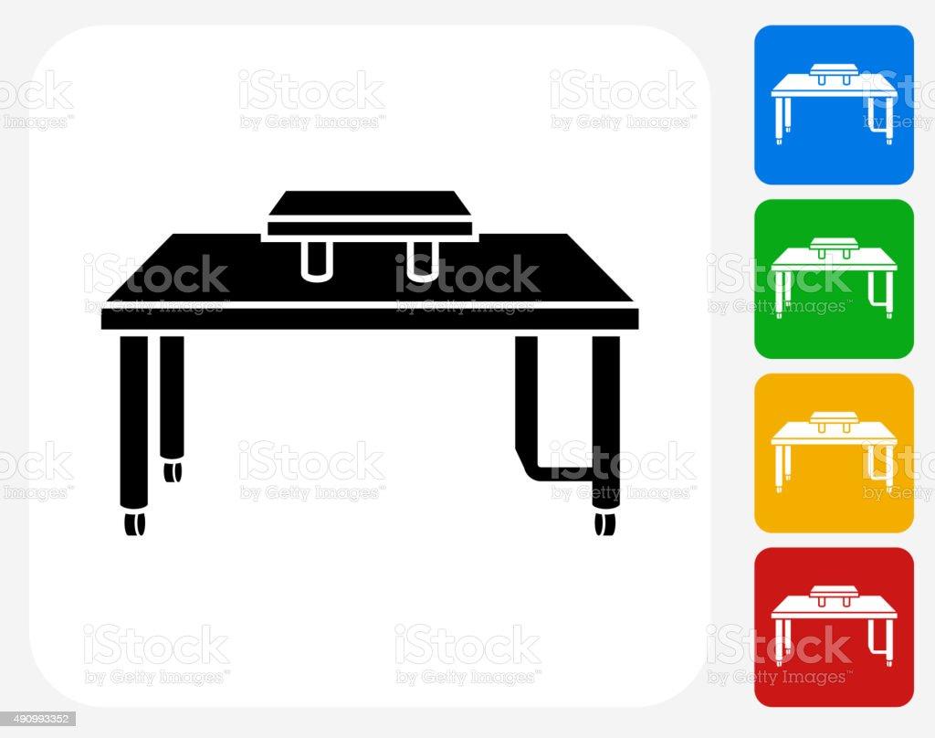 Computer Desk Icon Flat Graphic Design vector art illustration