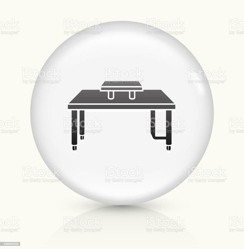 Computer Desk icon on white round vector button vector art illustration