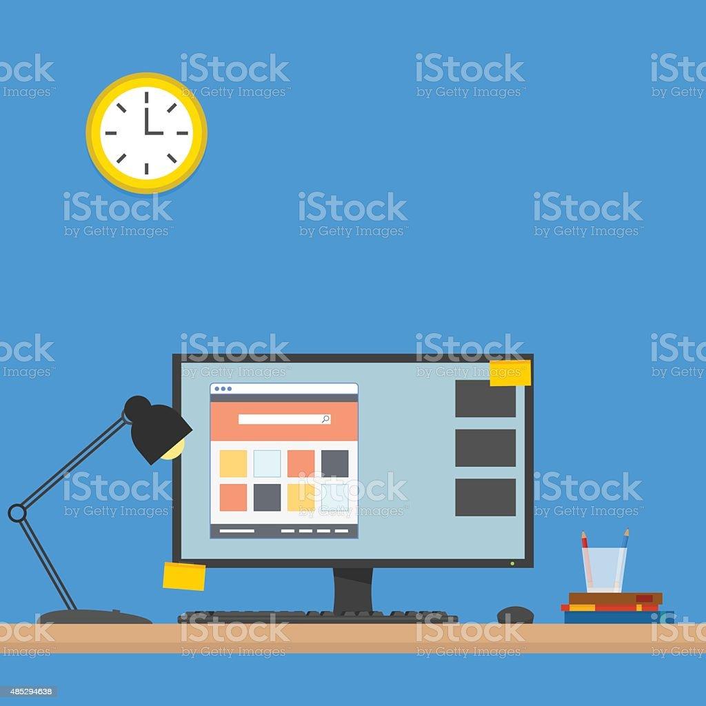 Computer Desk vector art illustration