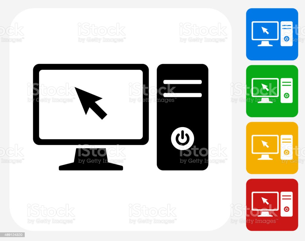 Computer Desktop Icon Flat Graphic Design vector art illustration